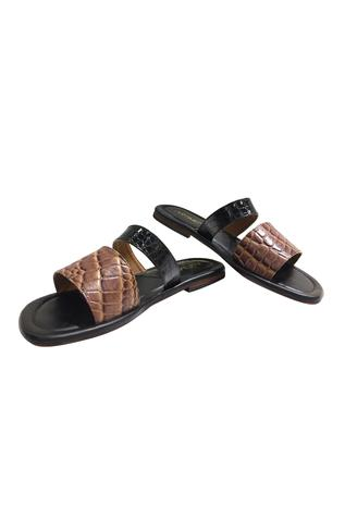 Pure leather dual strap sandals