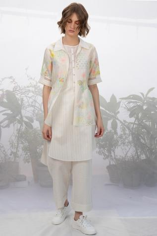 Chanderi Jacket Kurta Set