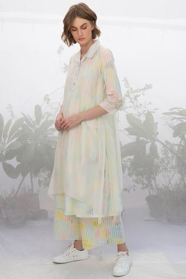 Chanderi Layered Kurta Pant Set