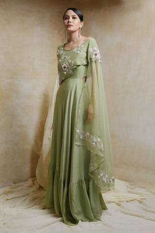 Gown with Embroidered Drape