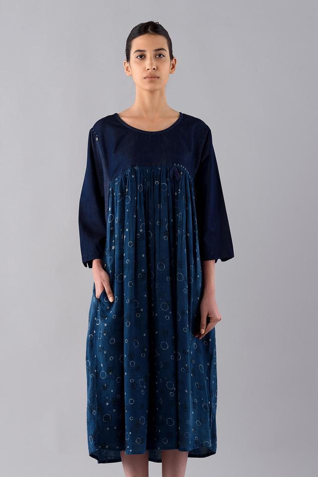 Temari Hand Block Print Dyed Midi Dress