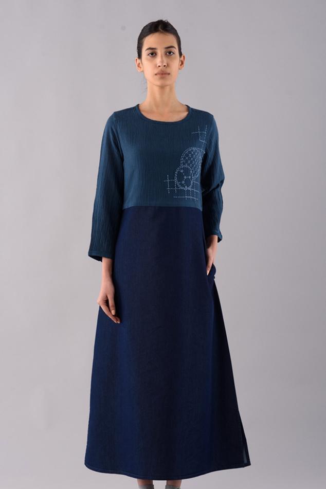 Flared Shashiko Midi Dress