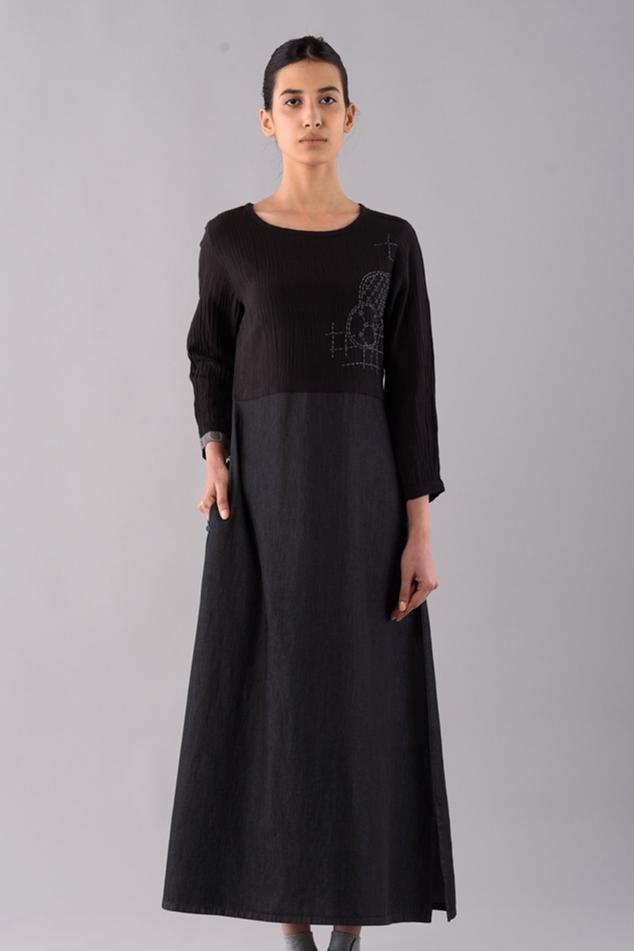 Dyed Shashiko Midi Dress