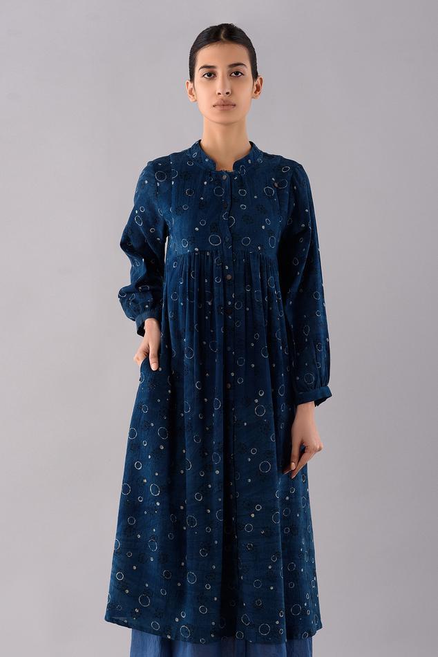Temari Hand Block Print Dyed Shirt Dress