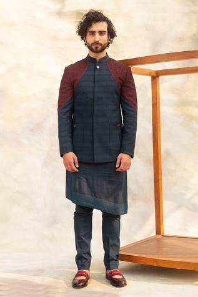 Colorblock Bandhgala Set