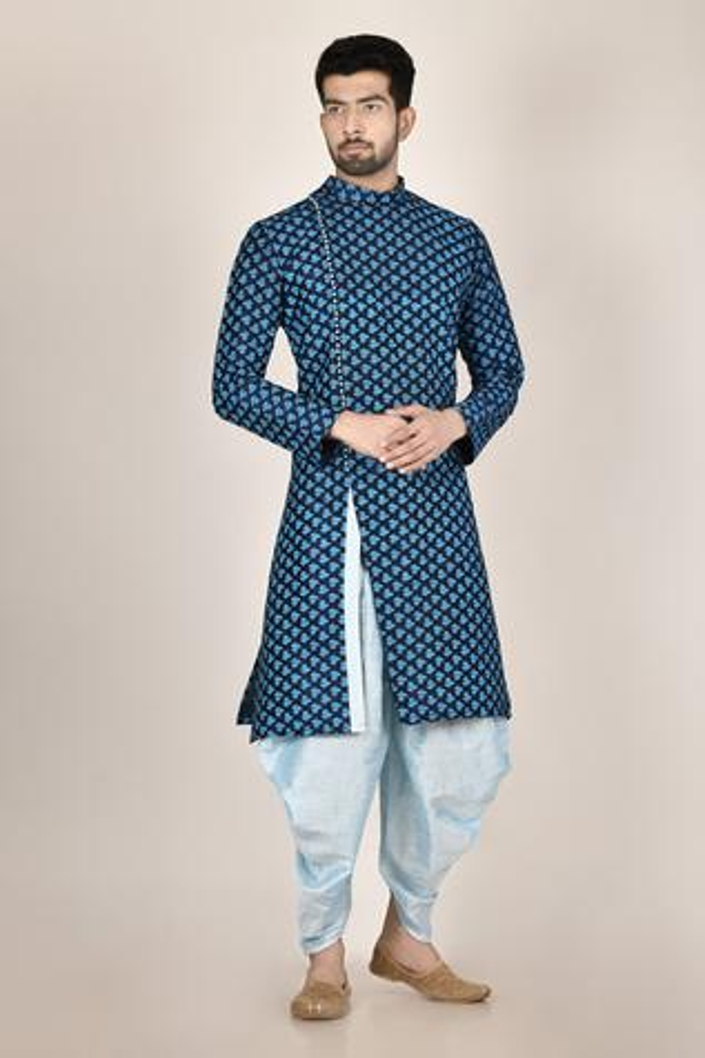 Printed Silk Kurta & Dhoti Pant Set