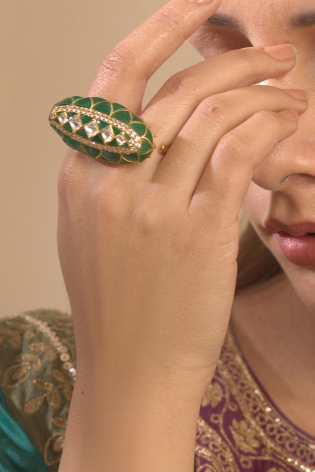Polki Two Finger Ring