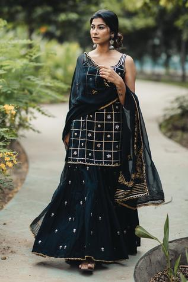Embroidered Kurta Sharara Set