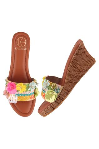 Keysha Floral Embroidered Wedges