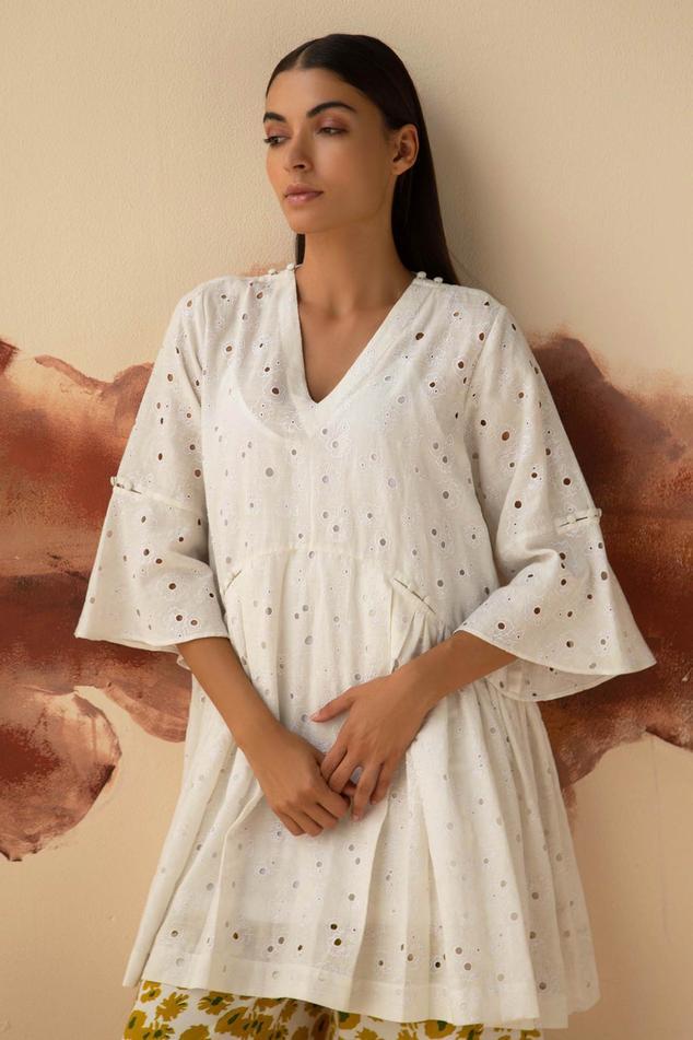 Schiffli Embroidered Linen Tunic