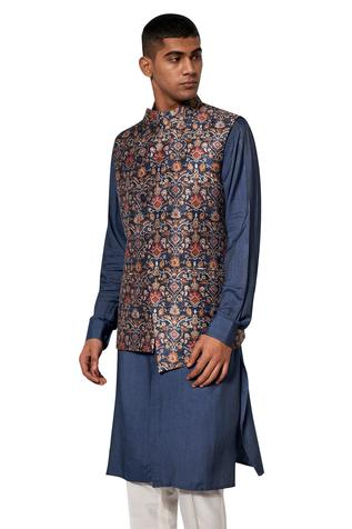 Silk Printed Bundi & Kurta Set