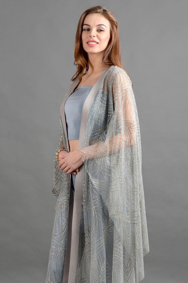 Embellished Cape & Silk Pant Set