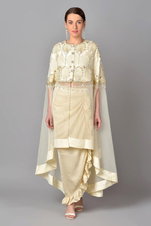 Embroidered Cape & Silk Skirt Set