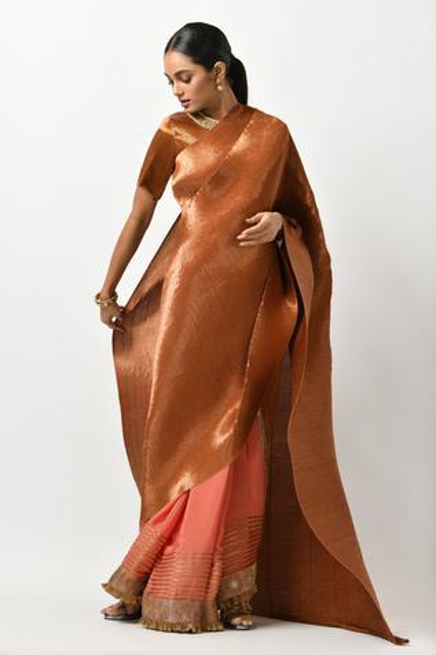 Metallic Pleated Saree