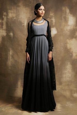 Ombre Anarkali with Organza Dupatta