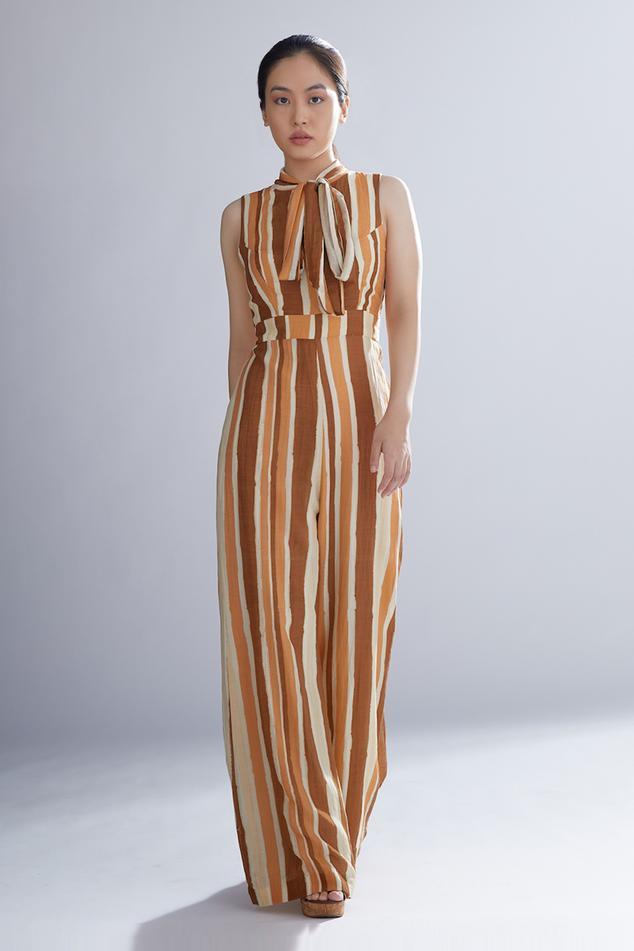 Chanderi Silk Striped Jumpsuit