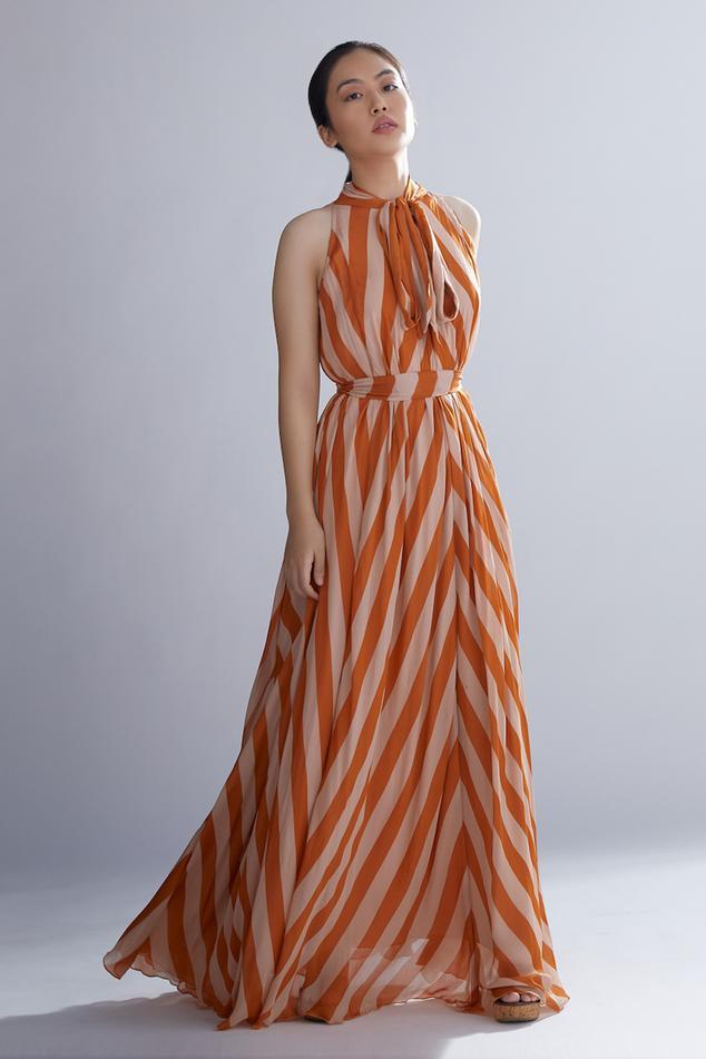 Striped Bow Neck Maxi Dress