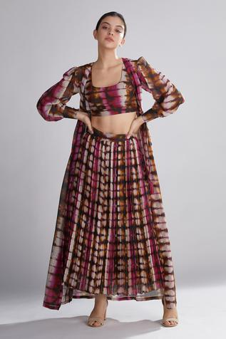 Chanderi Silk Pleated Skirt