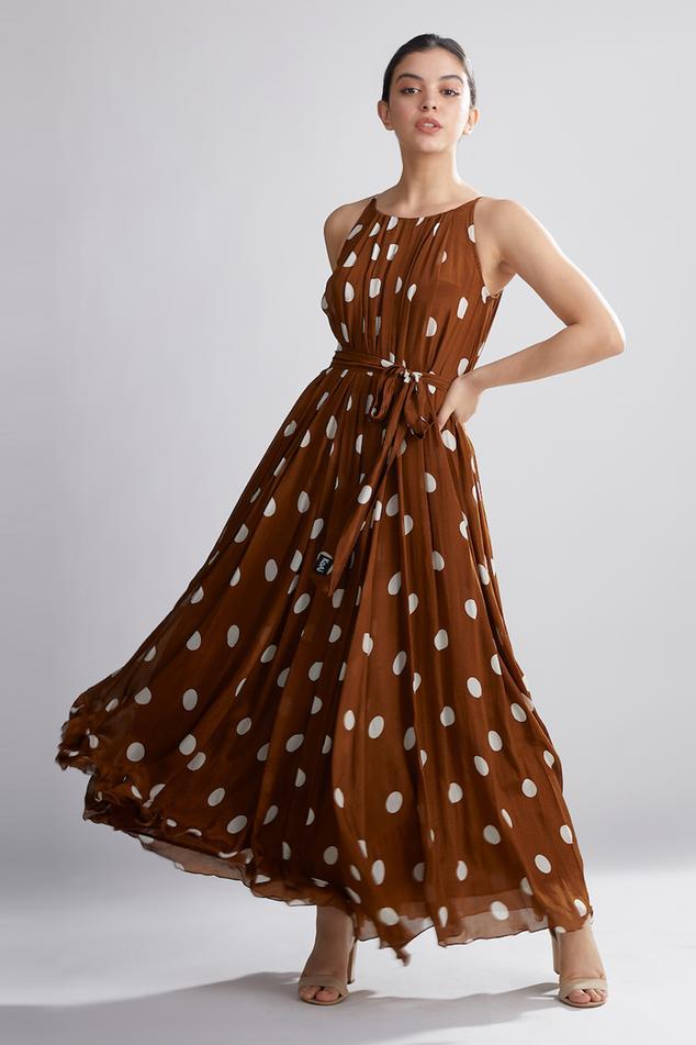 Polka Dot Print Pleated Maxi Dress