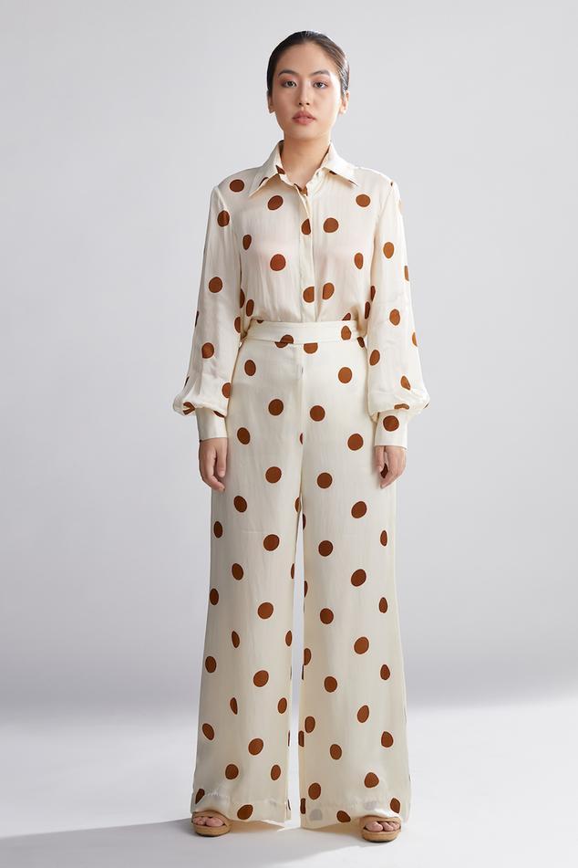 Silk Polka Dot Print Palazzos