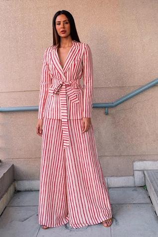 Striped Jacket with Palazzo