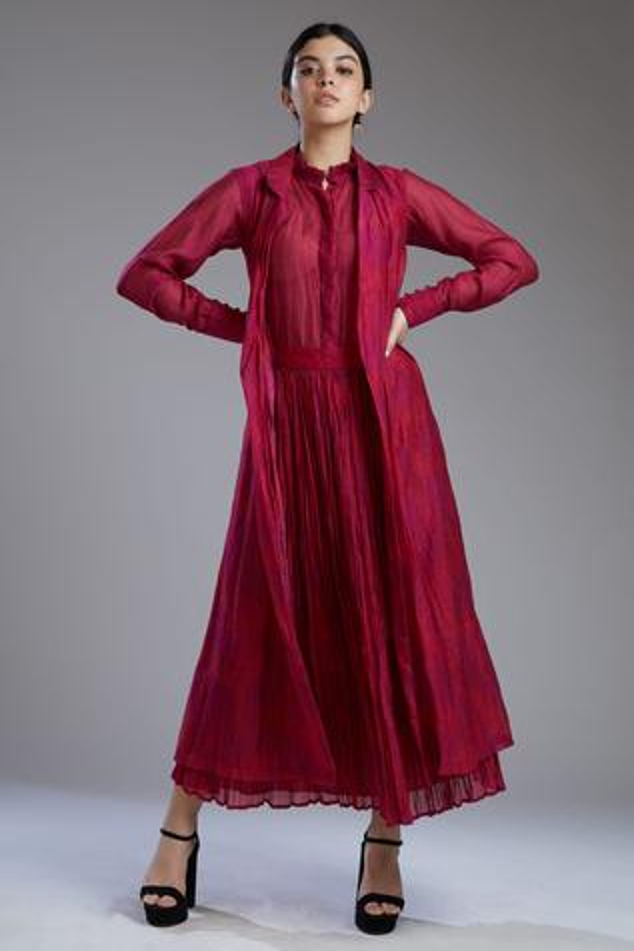 Printed Chanderi Silk Long Jacket