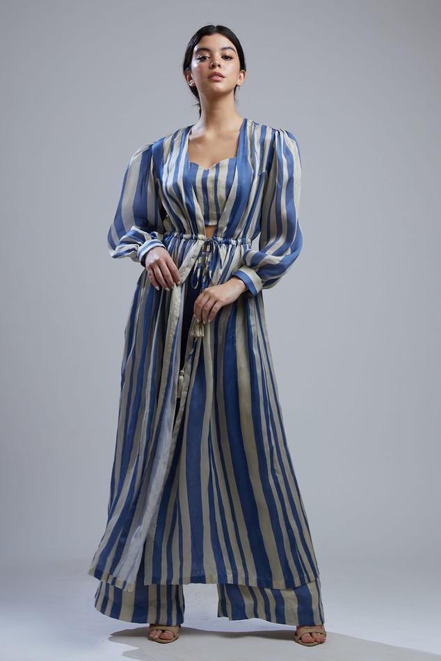 Striped Silk Long Jacket