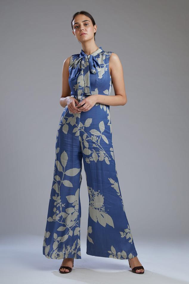 Satin Silk Printed Jumpsuit