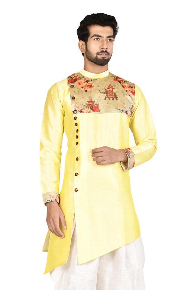 Asymmetric Silk Bandhgala & Dhoti Pant Set