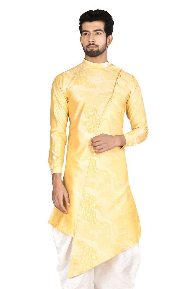 Printed Silk Sherwani & Dhoti Pant Set