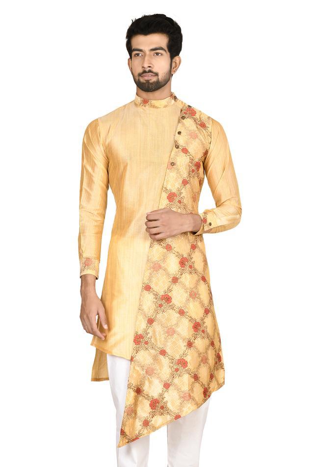 Asymmetric Silk Sherwani & Churidar Set
