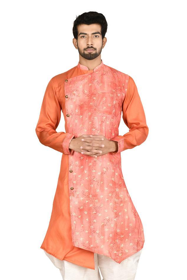 Asymmetric Silk Sherwani & Dhoti Pant Set