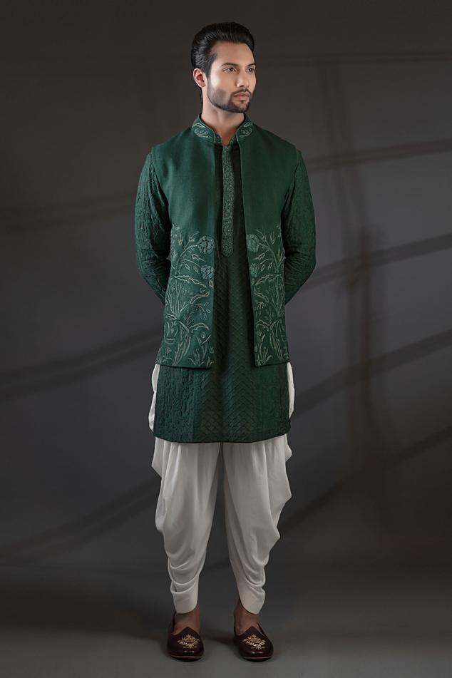 Silk Embroidered Bundi & Kurta Set