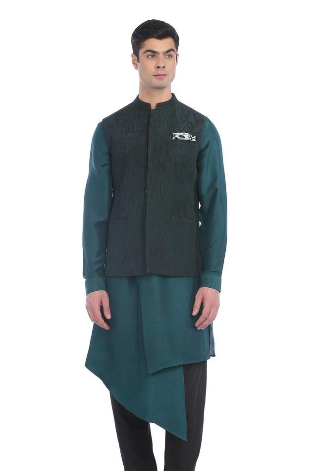 Taragarh Silk Quilted Bundi & Kurta Set