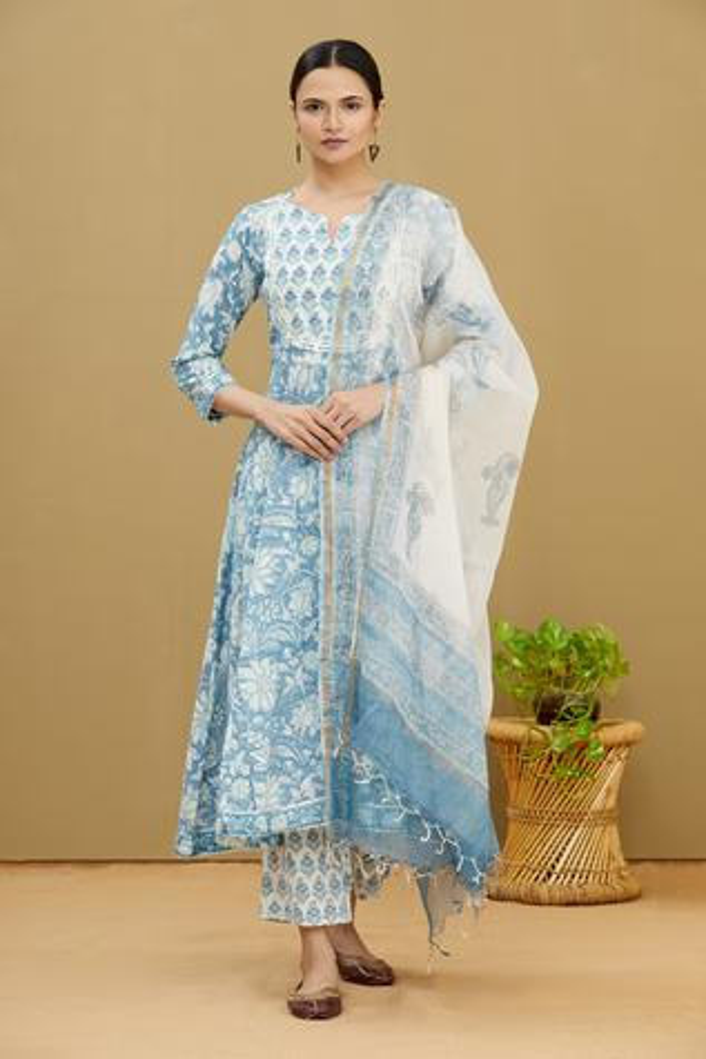 Printed Cotton Anarkali Set