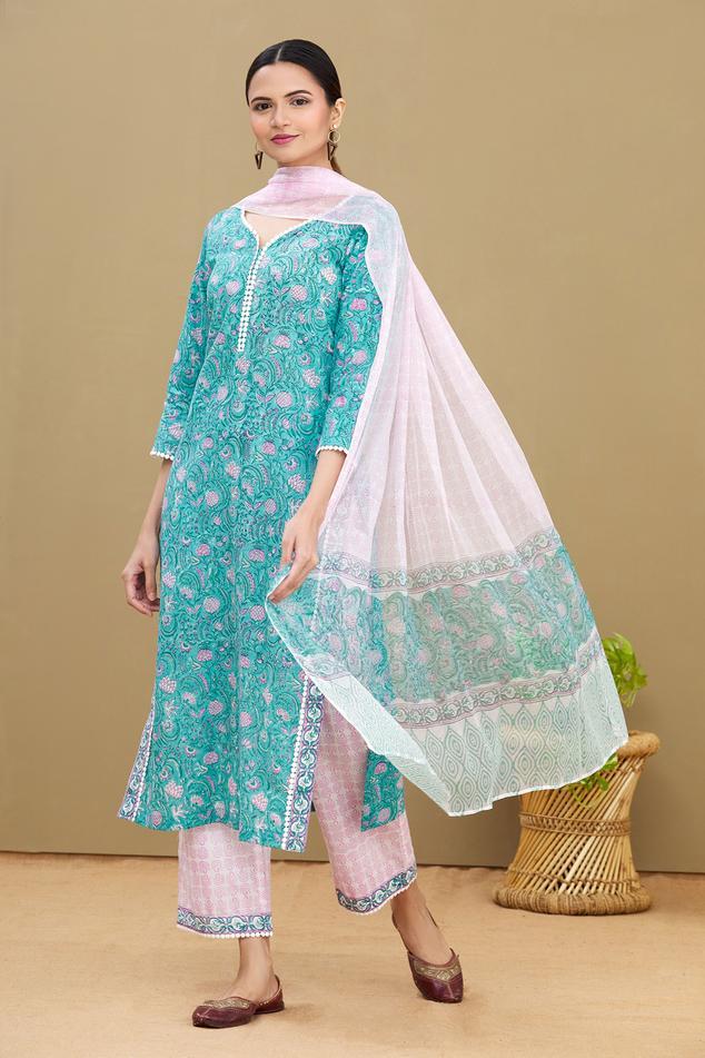 Printed Cotton Kurta Set