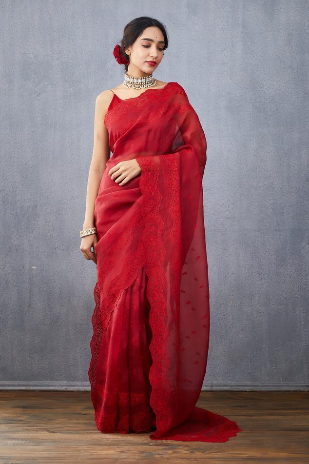 Silk Organza Surkh Anahita Saree