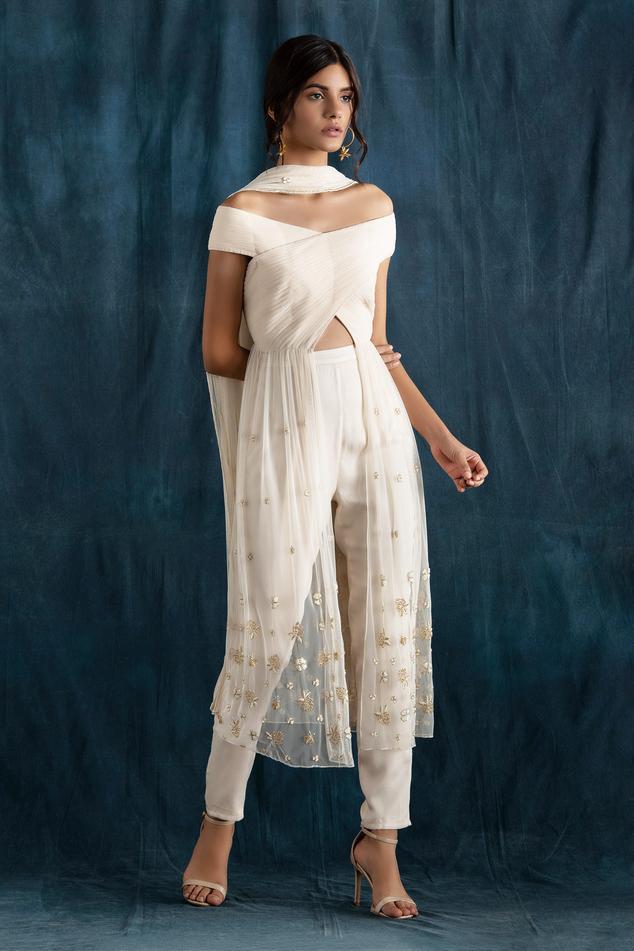 Embroidered Off Shoulder Kurta Set