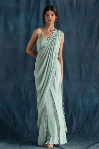 Pre-Draped Saree with Embroidered Blouse