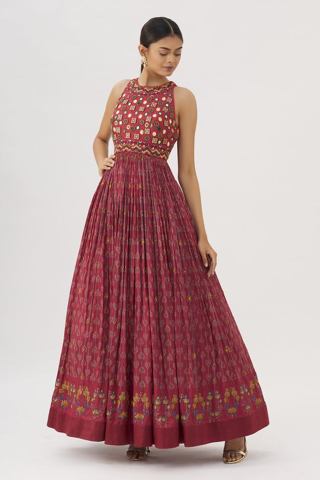 Block Print Silk Gown