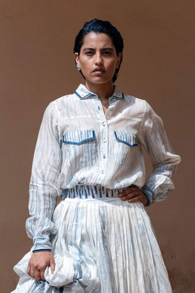 Chanderi Silk Shibori Shirt