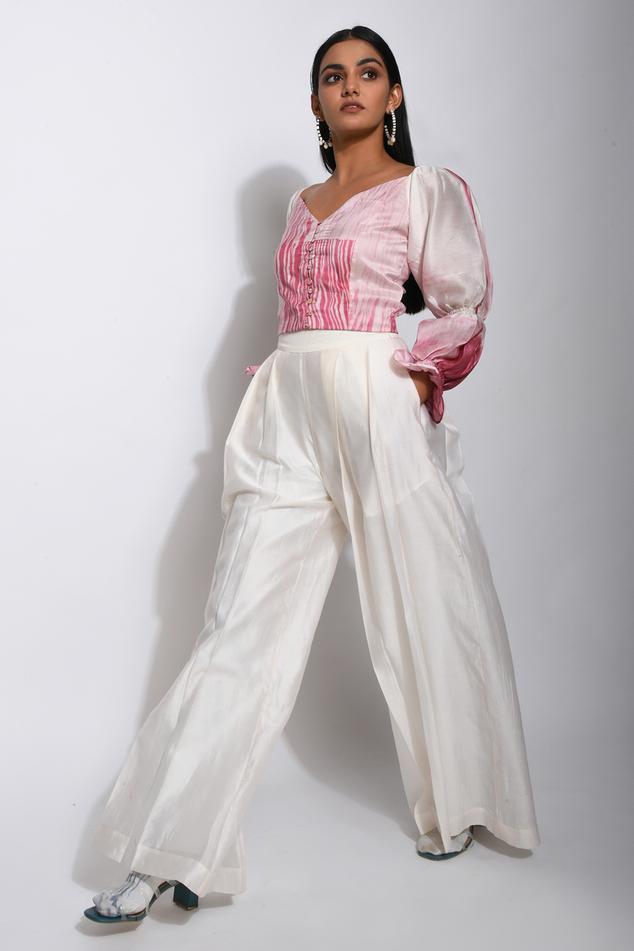 Chanderi Silk Pleated Pant