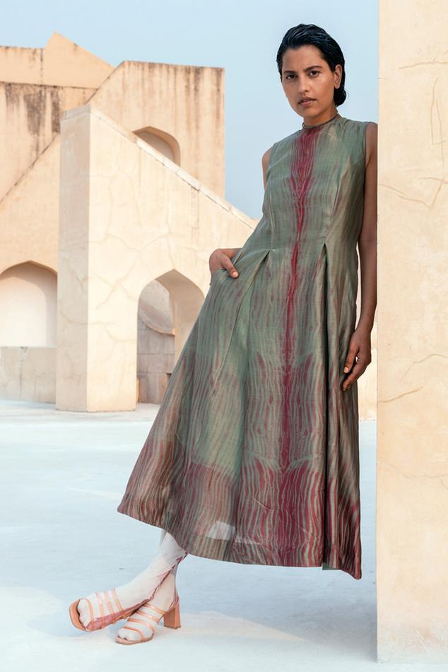 Chanderi Silk Shibori Dress