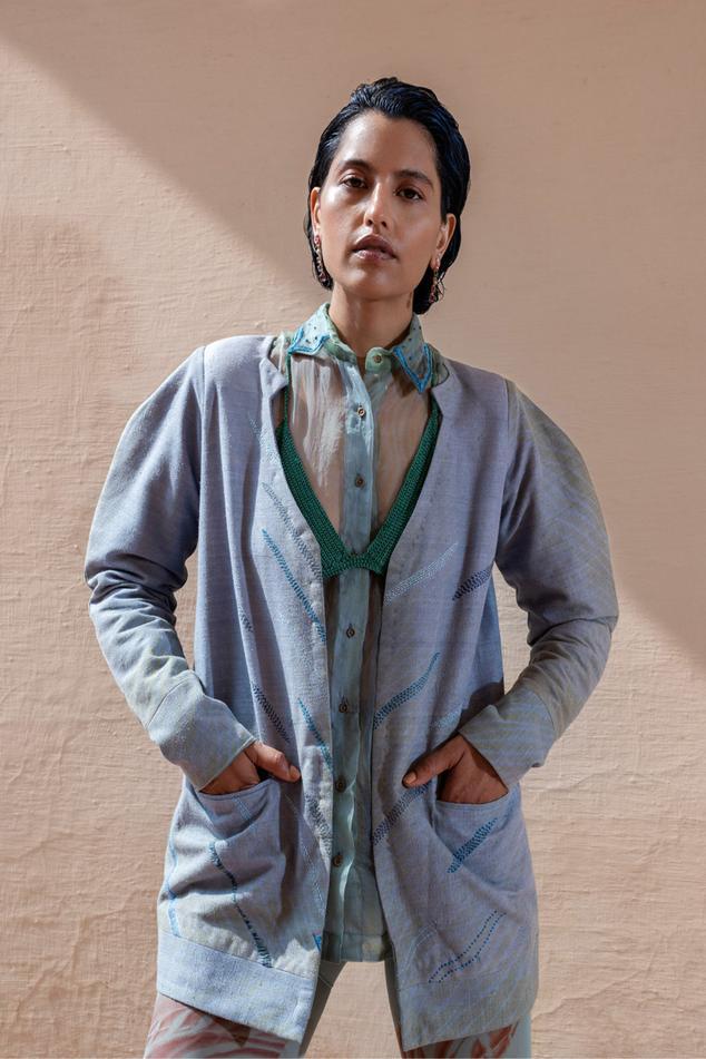 Embroidered Shibori Jacket