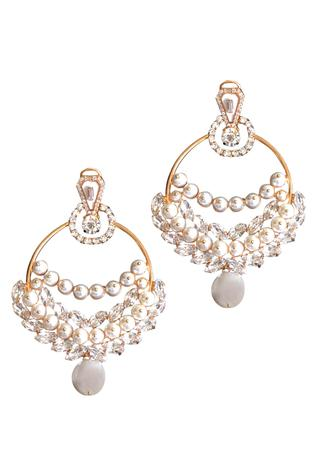 Pearls & crystals laurel drop earrings