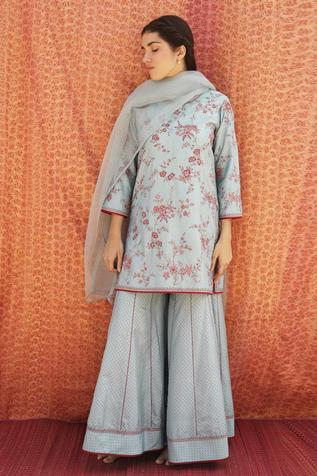 Silk Embroidered Kurta & Sharara Set