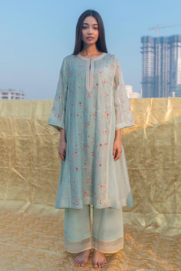 Silk Embroidered Kurta & Handloom Cotton Pant Set
