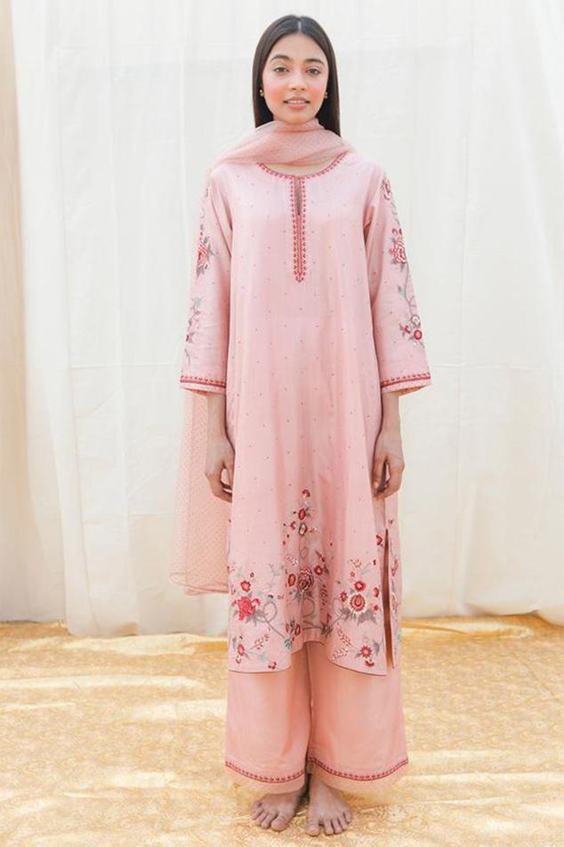 Silk Embroidered Kurta & Palazzo Set