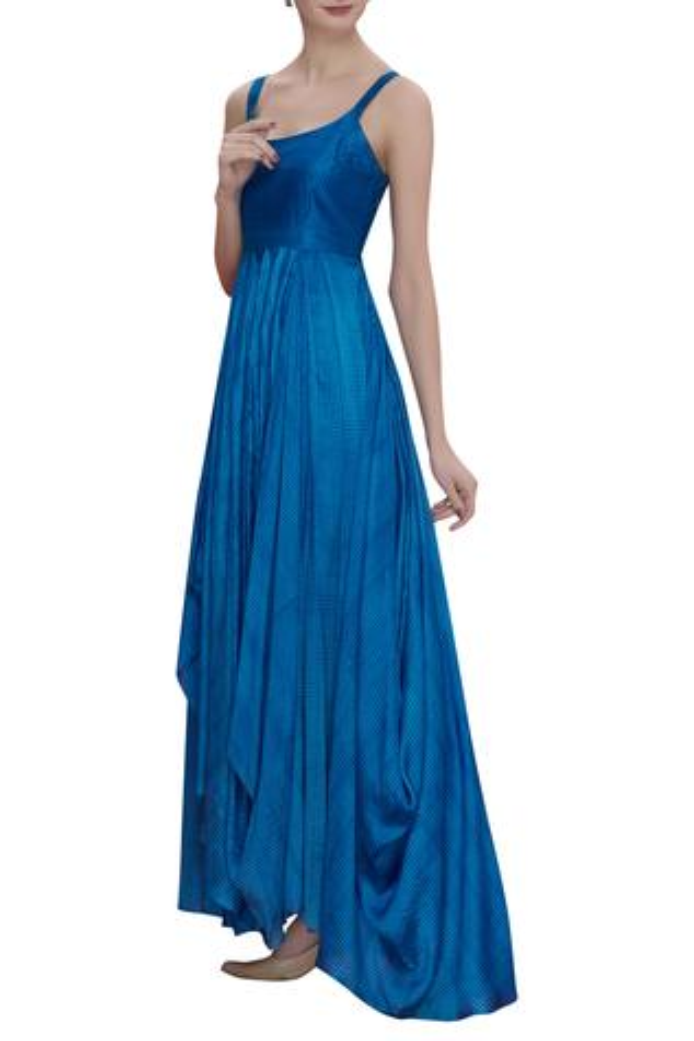 Block Print Cowl Draped Dress