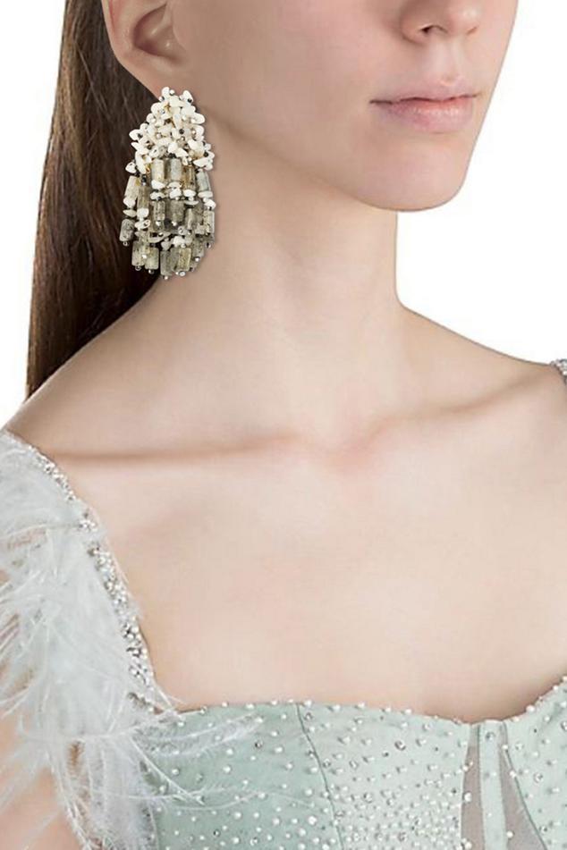Stone Drop Tassel Earrings